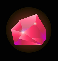 Sparkling crystal in pink color isolated on black vector