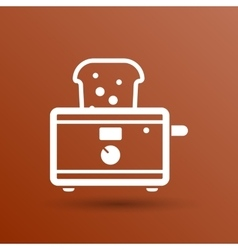 Toaster icon isolated slice crust white snack vector