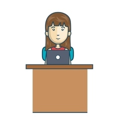 Avatar woman working laptop vector