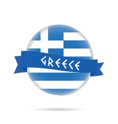 Greece flag with blue ribbon in colorful vector