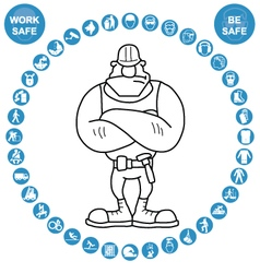 Cyan circular health and safety icon collection vector