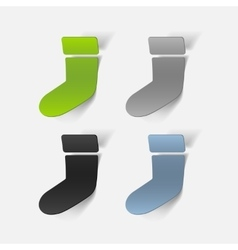 Realistic design element christmas sock vector