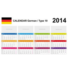 Calendar 2014 German Type 19 vector image