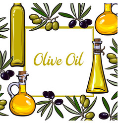 Square frame of olive branches and oil bottles vector