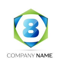 number eight symbol in colorful hexagonal vector image