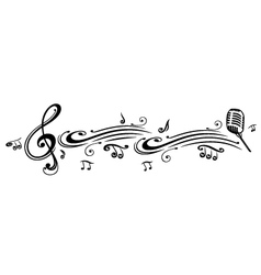 Clef music notes microphon vector image