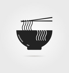 Black bowl icon with chinese noodles and shadow vector