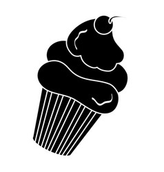 Delicious cupcake with cherry vector