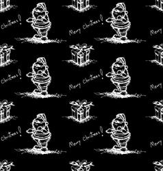 black seamless pattern santa claus vector image