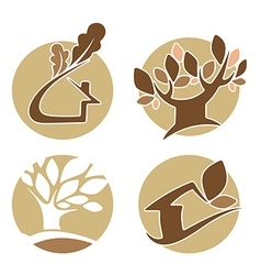 Round nature icons vector