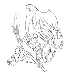 The old evil witch flying on a broomstick outlined vector