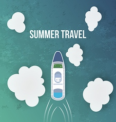 Summer travel background with cruise liner vector