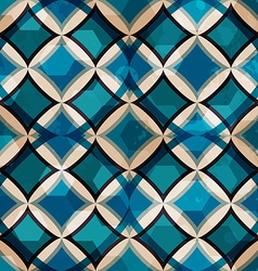 Vintage blue mosaic seamless pattern with grunge vector