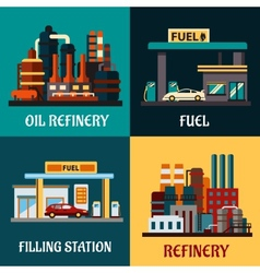 Filling stations and oil refinery flat concepts vector