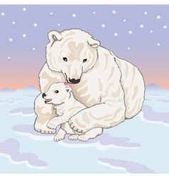 Polar she-bear with cub vector