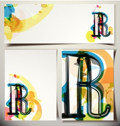 Artistic greeting card letter r vector