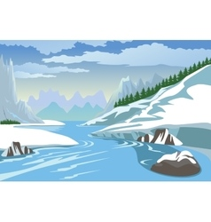 Mountains and river in winter vector