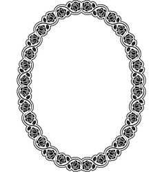 Oval frame with roses vector