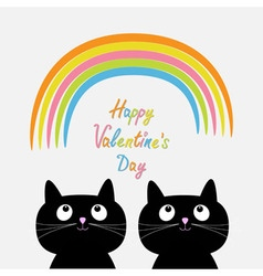 Happy valentines day love card rainbow and pink vector