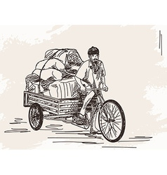 Sketch of cycle rickshaw vector
