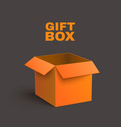Open orange box isolated on dark background vector