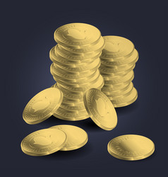 a pile of gold coins vector image