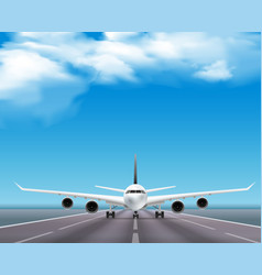 Airplane on runway realistic poster vector