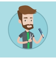 Barber holding comb and scissors in hands vector image vector image