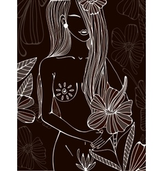 Beautiful hand drawn of a naked woman vector image vector image