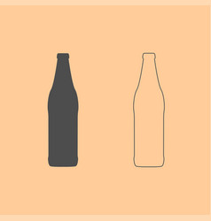 beer bottle dark grey set icon vector image