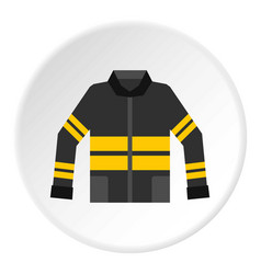 Black and yellow firefighter jacket icon circle vector