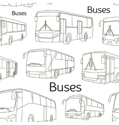 Bus icons set pattern vector