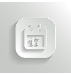 Calendar icon - white app button vector image vector image