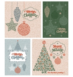 Christmas vintage cards set vector