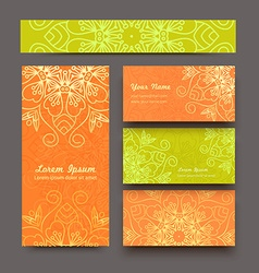 Color business cards mandala vector