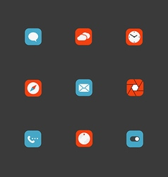 Color interface icons collection design elements vector