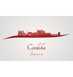Cordoba skyline in red vector image vector image