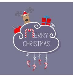 Deer in santa hat giftbox snowflake ball merry vector