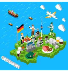 Germany isometric sightseeing map for tourists vector