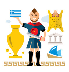 greece concept flat style colorful cartoon vector image