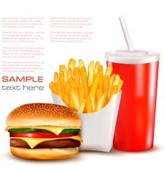 hamburger with drink and chips vector image vector image