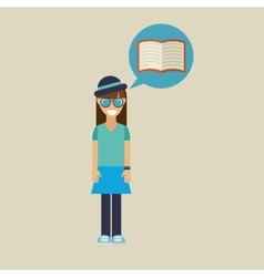 Hipster girl open book vintage background vector