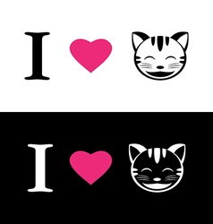 I love cat symbolic message vector image
