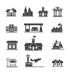 Icons set of places and location vector