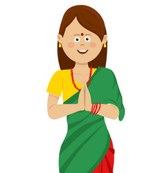 Indian woman wearing traditional beautiful saree vector