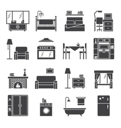 Interior and furniture icons set vector