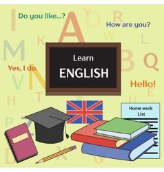 Learn english concept vector image