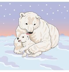 Polar she-bear with cub vector