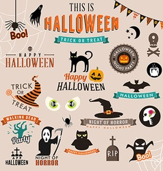 Set of happy halloween symbols and decoration vector
