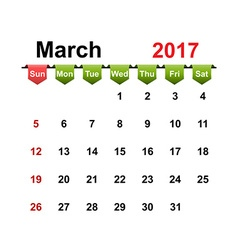 Simple calendar 2017 year march month vector